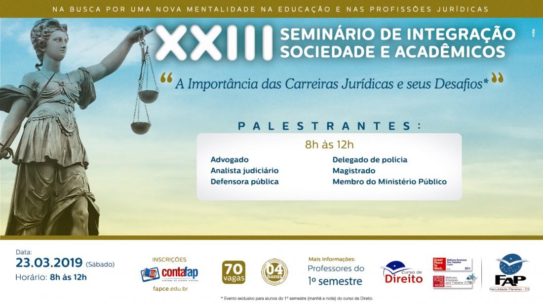 Banner do evento Seminário de Integração Sociedade e Acadêmicos