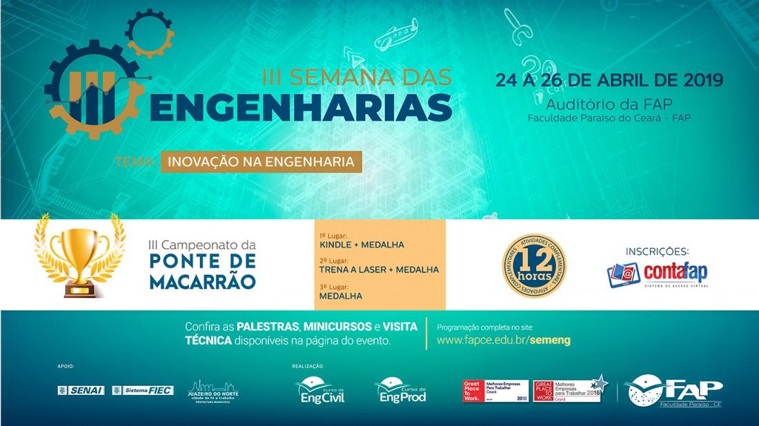 Banner do evento Semana das Engenharias