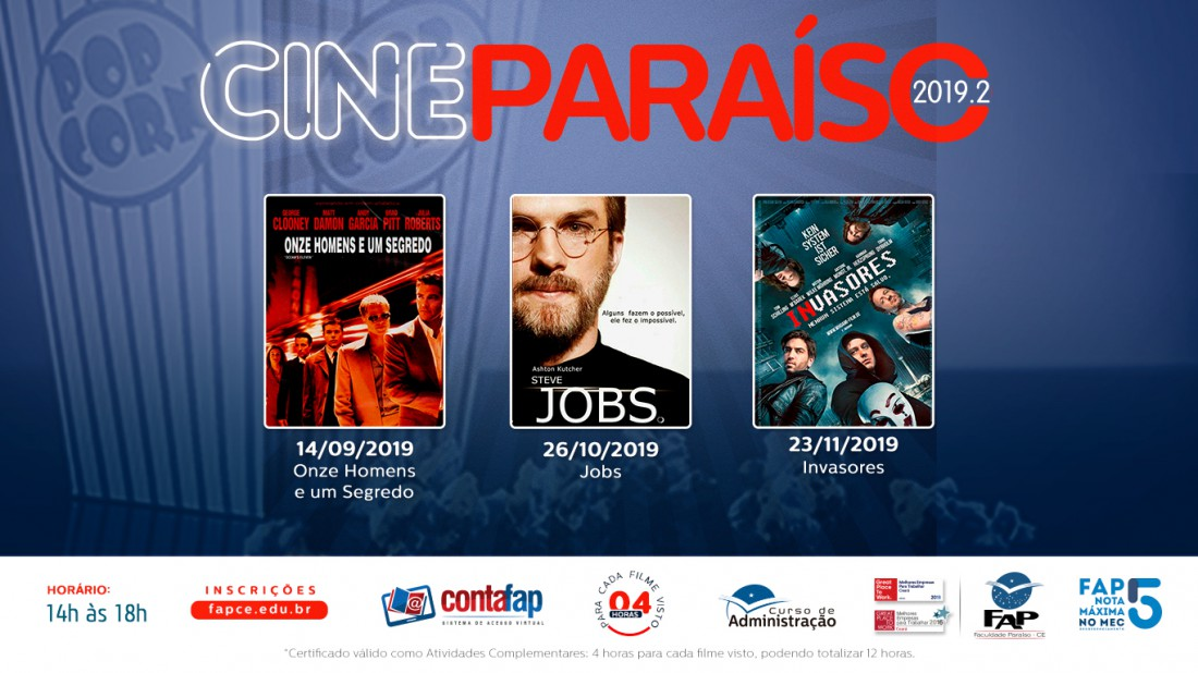 Banner do evento Cine Paraíso